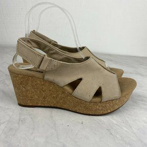 Clarks Annadel Sandals 9 Ivory Open Toe Casual